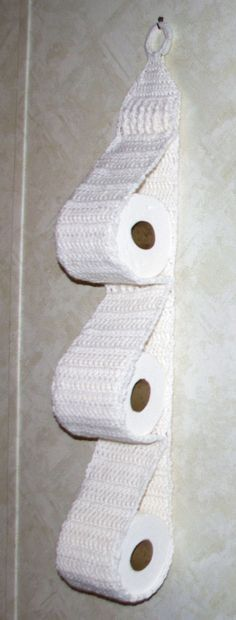 Hanging Three Roll Toilet Tissue Holder Free Crochet Pattern