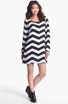 Stoosh Chevron Print Trapeze Dress (Juniors) available at #Nordstrom