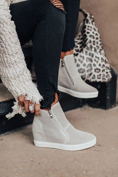 cute shoes The Asher Perforated Bootie In Light Grey Impressions Online Boutique Moda Sneakers, Sneakers Mode, Sneakers Fashion, Fashion Shoes, Womens Wedge Sneakers, High Top Sneakers, Wedged Sneakers, Fashion Outfits, Mens Fashion