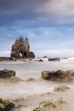 Playa de Portizuelo, Luarca, Asturias, Spain. Luarca is a fishing and recreation port.