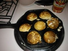ABEL SKIEVERS for breakfast!      For lowest calories: use the 'Heartsmart Bisquick' waffle recipe but substitute the vegetable oil with almond oil, then after the skillet is heated to medium use a low-cal non-stick spray in the skillet instead of oil and turn them with chop sticks.