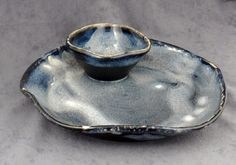 Chip n' Dip Platter Galaxy Blue by Crystallinehorse on Etsy, $28.00