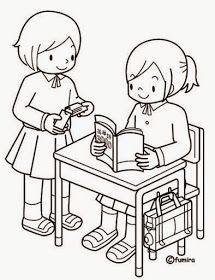 Dibujo para colorear. Niño leyendo un libro. Dibujo para colorear. Niños con libros. Dibujo para colorear. Niños jugando ... Drawing School, Drawing For Kids, Art For Kids, Coloring Sheets For Kids, Colouring Pages, Coloring Books, Color Activities, Preschool Activities, Thanksgiving Coloring Pages