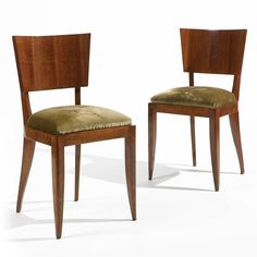 Pair of French Art Deco Side Chairs walnut, beech and fabric upholstery, circa 1925.