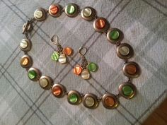 Multi colored button necklace & earring set
