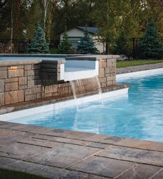 Water features come in a variety of styles, including waterfalls, fountains, spillways and more.