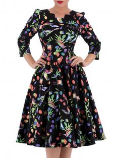 "Women's ""Garden Birds"" Tea Dress by Hearts & Roses (Black)1"