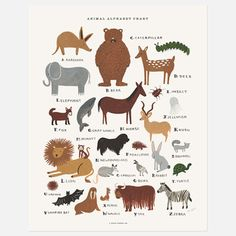 Wall Art.....35....Rifle Paper Co.: Animal Alphabet Chart Print, at 13% off!
