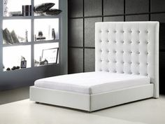 Modern White Leather Queen Sized Bed with Huge Headboard B128-W