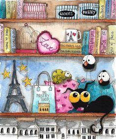 Original watercolor painting whimsical Stressie Cat bird crow Parisian Shelf  #IllustrationArt