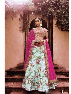 Blue & Pink Semi Silk Floral Lehenga Choli