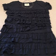 Abercrombie ruffled top Very cute Abercrombie ruffled top in navy blue. Has capped sleeves and is in excellent condition. Abercrombie & Fitch Tops Tees - Short Sleeve