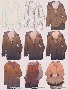 Jacket Tutorial 🙆♀ version Full version also available her Digital Painting Tutorials, Digital Art Tutorial, Art Tutorials, Manga Clothes, Drawing Anime Clothes, Art Reference Poses, Drawing Reference, Blind Drawing, Texture Drawing