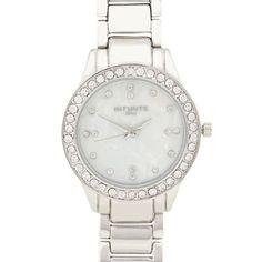 Infinite Ladies silver diamante case watch   Debenhams