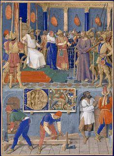 Les charpentiers Heures d'Étienne Chevalier, enluminées par Jean Fouquet, vers 1452-1460