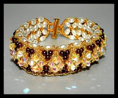 Chocolate and Diamonds  Bracelet with Swarovski by gitta on Etsy, $62.00