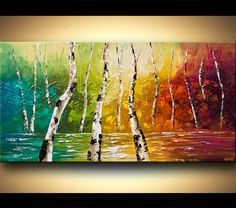 """48"""" x 24"""" ORIGINAL Abstract Modern Canvas Gallery Quality Wrap Palette Knife Painting Autumn by  Osnat - $390"""