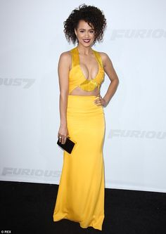She's got a lot of front: Nathalie Emmanuel goes for extreme cleavage at the Fast & Furiou...