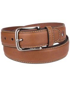 Belt Wolverine Wide Leather Brown Gold Roller Buckle  Contrast Stitch
