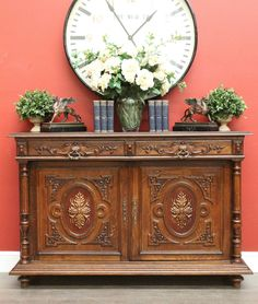 *Because* Antiques & Interiors. Antique French Oak and Porcelain 2 Door 2 Drawer Narrow Sideboard Buffet c1890