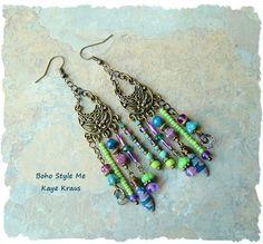 Boho Gypsy Assemblage Earrings Colorful Bohemian by BohoStyleMe