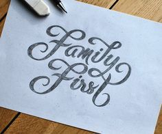 Family First hand-lettering - by Björn Berglund Creative Studio Family First Tattoo, Family Heart Tattoos, Anchor Tattoo Design, Heart Tattoo Designs, Calligraphy Fonts Alphabet, Typography Letters, Cursive Letters, Graphic Design Letters, Lettering Design