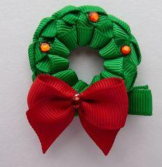 Christmas Wreath hair bow-stephanie breed's hair bow tutorials and inspiration