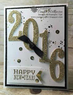 Just Sponge It: Black, White and Gold - SU - New Year card - Large Numbers Framelits, Number of Years, Timeless Textures, Six Sayings