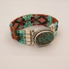 Chili Rose - Czech Beaded Bracelet with Turquoise Clasp