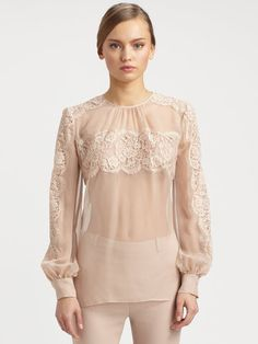 Valentino Lacetrimmed Silk Blouse - Lyst