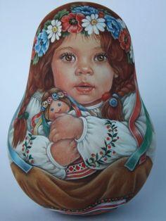 My Author's 1 Kind Russian Roly Poly Nesting Matryoshkas Dolls Artist Usachova   eBay