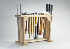 Hammer Rack Holder Jewelry Tools Organizer by RollingThunderWood Garage Tool Organization, Tool Storage, Studio Organization, Garage Storage, Craft Storage, Organization Ideas, Storage Ideas, Woodshop Tools, Red Oak Wood