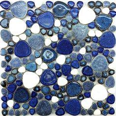 Blue porcelain tile glass pebble mosaic tile PPMT034 pebble flooring tiles porcelain mosaic kitchen wall tile backsplash  [PPMT034] - $17.49 : MyBuildingShop.com