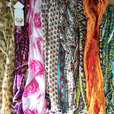 Luxurious silk scarves with beaded edges made in Cape Town from vibrantly printed sari fabric. Sari Fabric, Silk Scarves, Cape Town, Florals, Pocket, Clothes For Women, Detail, Printed, Dresses
