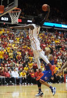 Iowa State's Jameel McKay dunks against No. 9 Kansas in Hilton Coliseum on Saturday. Photo by Nirmalendu Majumdar/Ames Tribune
