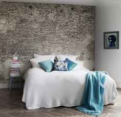 The tile/brick effect on the wall would be great in a teenager's room.....like this for a girl, a little darker for a boy.