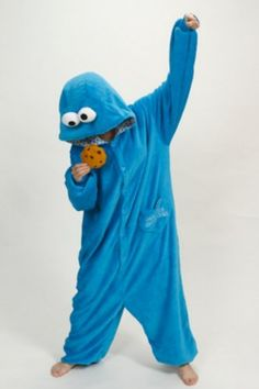 Adult Unisex Animal Blue Cookie Monster Pajamas Sleepwear (Size S) - Click image twice for more info - See a larger selection kids animal costume at http://costumeriver.com/product-category/animal-costumes/ -  kids, holiday costume , event costume , halloween costume, cosplay costume, classic costume, animal costume,  clothing, gift ideas
