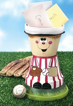 Potted Baseball Player - Crafts 'n things -- If you put a clay pot saucer on the top this would be a cute bird bath.