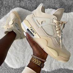 Off-White x Air Jordan 4 Cream Sail 2020 CV9388-100 Mens Fashion Shoes, Nike Fashion, Sneakers Fashion, Sneakers Nike, Nike Shoes, Jordan 4, Jordan Fashions, Sneakers Street Style, Air Jordan Shoes