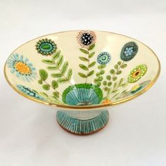 inspired underglaze flowers on this adorable ceramic bowl. Love the steep sides and tall foot.Retro inspired underglaze flowers on this adorable ceramic bowl. Love the steep sides and tall foot. Hand Built Pottery, Slab Pottery, Pottery Bowls, Ceramic Pottery, Pottery Art, Thrown Pottery, Pottery Painting, Ceramic Painting, Ceramic Art