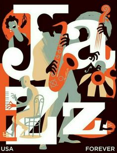paulrogersstudio Advertising and Institutional Postage stamp for the USPS honoring jazz. Issue date: March 2011 Illustration and graphic design studio of Paul Rogers Poster Retro, Jazz Poster, Vintage Posters, Print Poster, Postage Stamp Design, Postage Stamps, Typographie Fonts, Plakat Design, Jazz Club