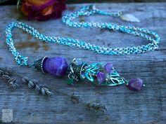 Delicate Necklace amethyst crystal Pendant bohemian