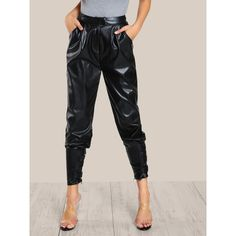 SheIn(sheinside) Faux Leather Cigarette Buckle Pants (260 SEK) ❤ liked on Polyvore featuring pants, black, loose fitted pants, high waisted faux leather pants, long pants, high waisted loose pants and high waisted tapered trousers