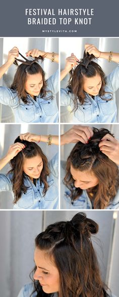 Festival hair style ideas, braided top knot, easy braided hairstyles - My Style Vita