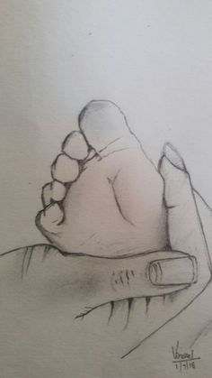 Baby feet rest in mom's hand sketch by Think os Vinci🤓- # hand sketch . Baby feet rest in mom's hand sketch by Think os Vinci🤓- # han . Easy Pencil Drawings, Cute Baby Drawings, Pencil Sketch Drawing, Girl Drawing Sketches, Girly Drawings, Art Drawings Sketches Simple, Realistic Drawings, Sketches Of Hands, Pencil Sketch Images
