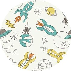 Monaluna for Birch Organic Fabrics, DOUBLE GAUZE, Space Rockets- imagine the kitschy goodness you could make with this!