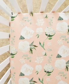 Peach with White Flowers Baby Bedding