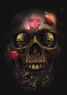 ☮ American Hippie Psychedelic Art ~ Skull
