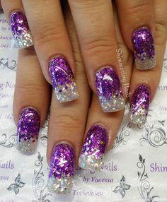 Purple Glitter Nails, Sparkly Nails, Glitter Nail Art, Fancy Nails, Cute Acrylic Nails, Bling Nails, Purple Nail Designs, Colorful Nail Designs, Acrylic Nail Designs