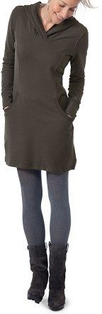 Sweatshirt dress with leggings and boots.